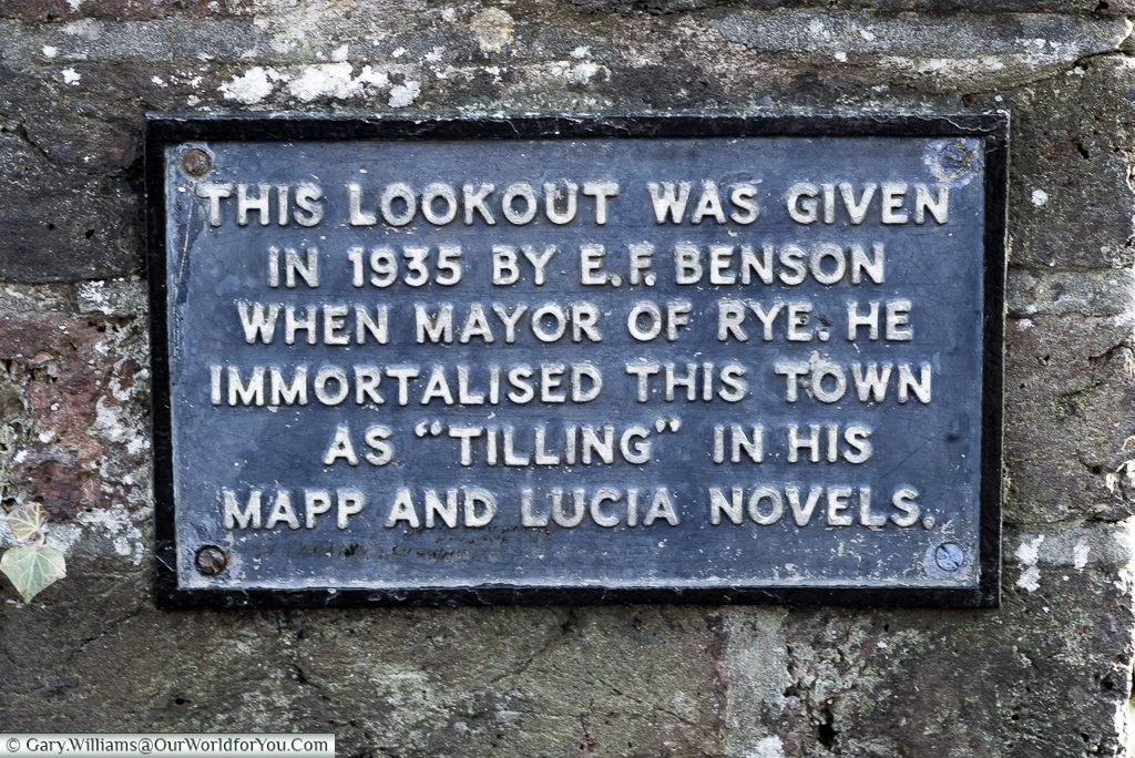 The lookout plaque, Rye, East Sussex, England, UK