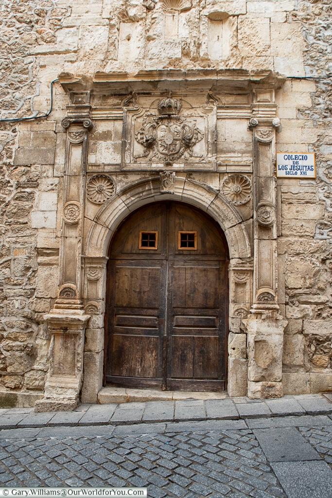 The door to the colegio de los Jesuitas, Cuenca, Spain