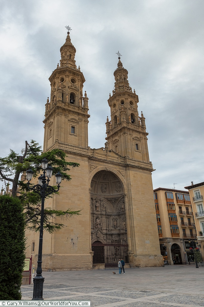 Across the plaza to Church-Cathedral of Santa María de la Redonda, Logroño, Spain