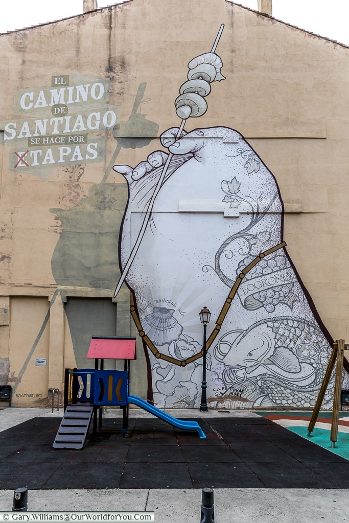 Street Art - Faith and food, Logroño, Spain