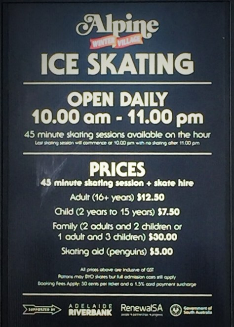 Ice Skating Price Board