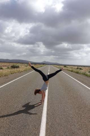Handstand on the road