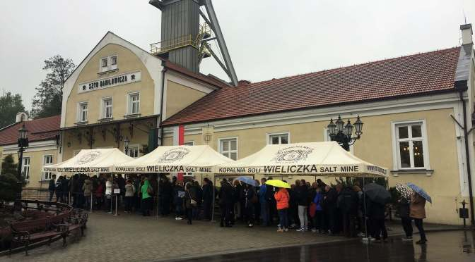 Escape the rain and go the the Wieliczka Salt Mine