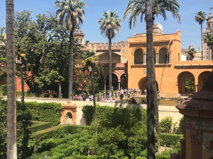 Jardins do Real Alcázar de Sevilla vistos do alto, da Galeria do Grotesco