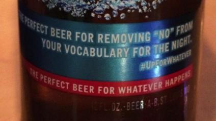 """Picture of beer bottle with phrase """"the perfect beer for removing 'no' from your vocabulary for the night."""""""