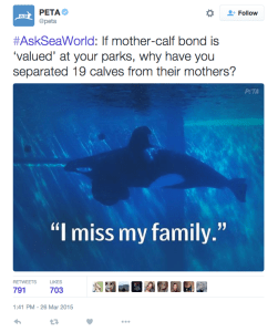 Example of many upset Tweeters' response to #AskSeaWorld