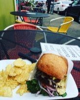 A burger at Astoria Coffee House