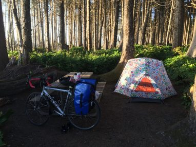 Bike and tent at Cape Lookout State Park