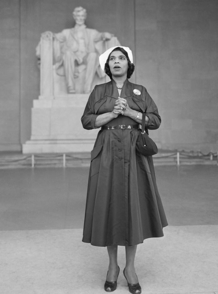 Marian Anderson Singing at the Lincoln Memorial.