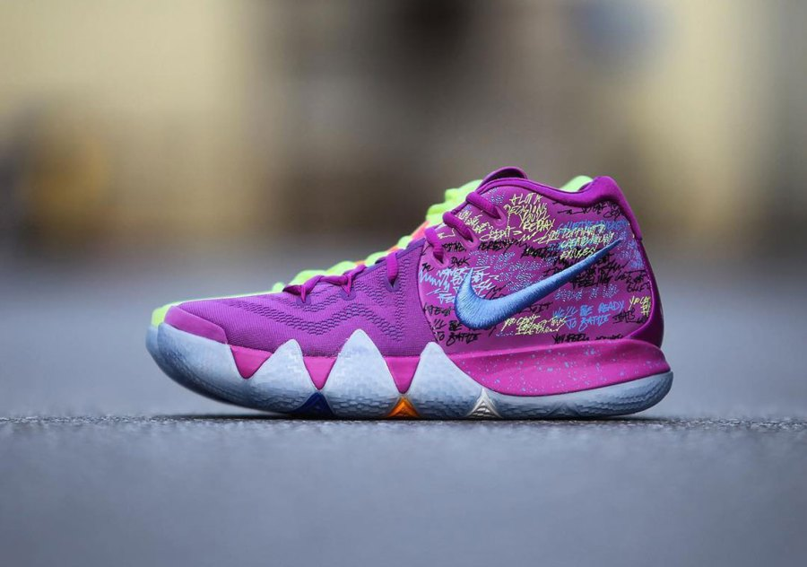f0eeda4a5467 Kyrie 4 Confetti blends a number of familiar elements from the previous  three models