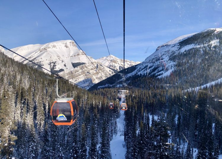 Taking the gondola to Banff Sunshine Village