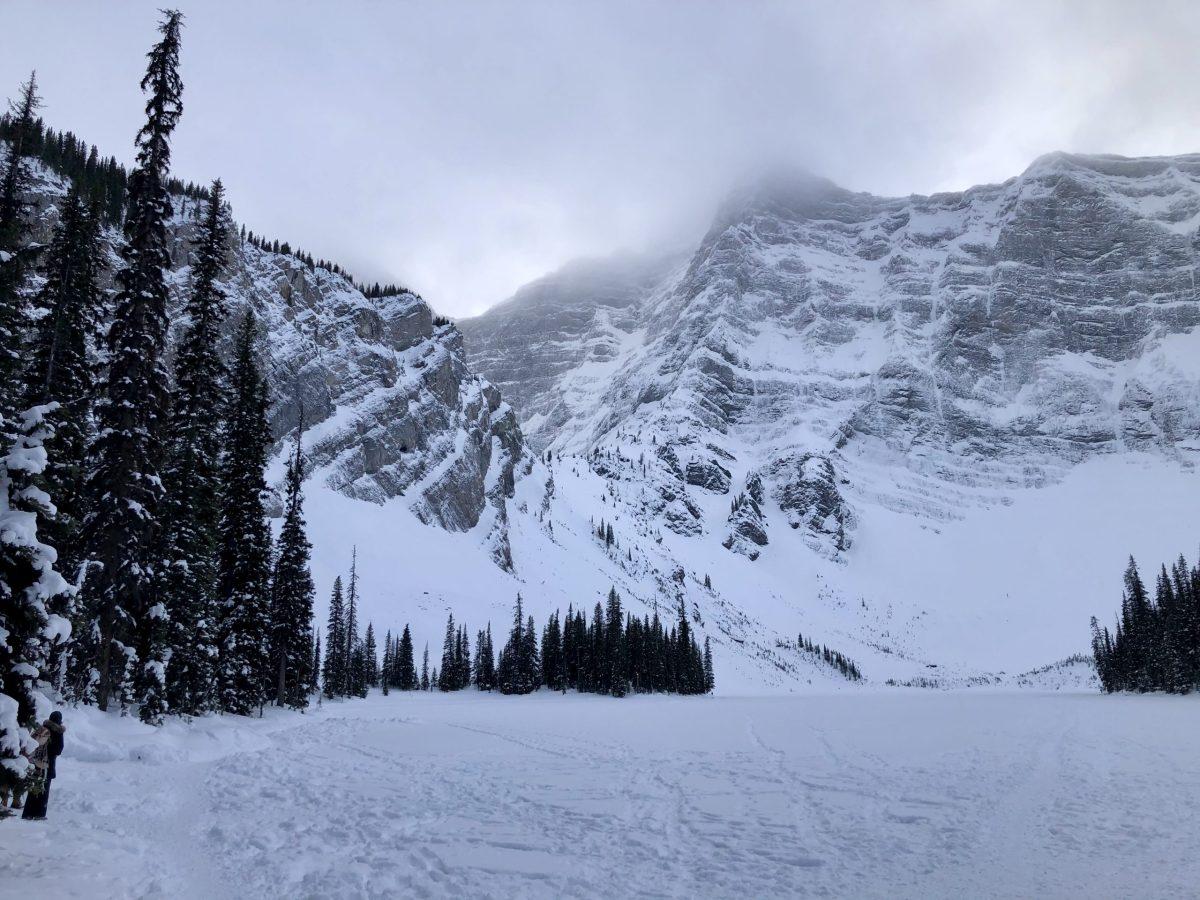 Frozen Rawson Lake in Kananaskis Country in Alberta