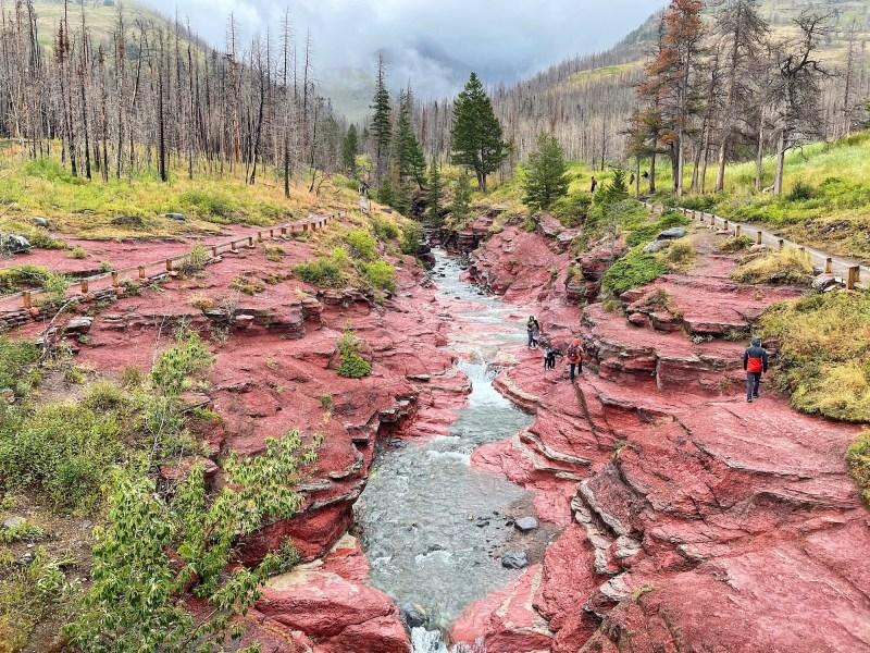 Hiking at Red Rock Canyon and Blakiston Falls in Waterton