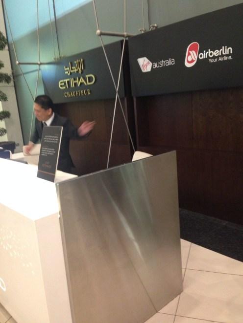 Etihad desk for pre-arranged car service