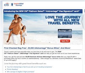Information for Citibank Platinum Select/AAdvantage Visa Signature card signup bonus