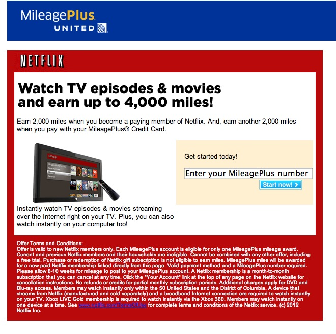 Up to 4,000 bonus United miles to sign up for Netflix