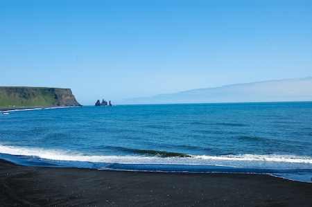 A black sand beach in Vik