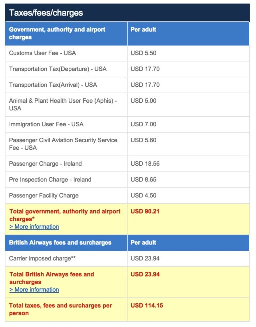 Cost to book Aer Lingus with British Airways