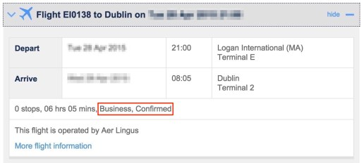 Aer Lingus booking on BA website - business, confirmed