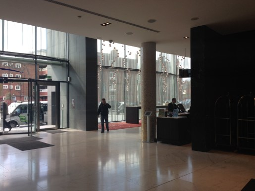 Check-in area at the Radisson Royal Blu Dublin