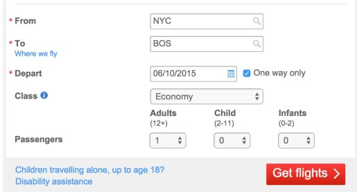 "The search starts with ""NYC"" again (for June 10th)"