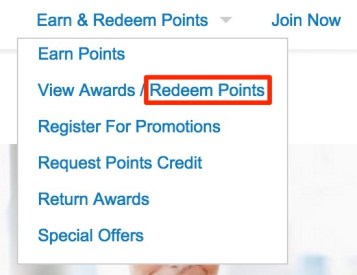 "When you have enough points, click ""View Award/Redeem Points"""