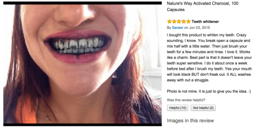 Activated charcoal as a tooth whitener
