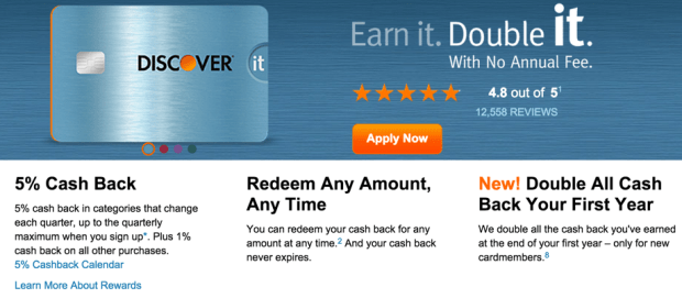 The Discover It card has 5% bonus categories, double cash back, a kick-ass shopping portal... and NO annual fee