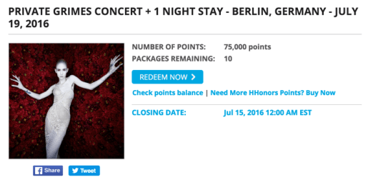 Grimes concert + 1 night at Hilton Berlin for 75,000 Hilton points