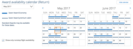 Space is open nearly every day in May and June 2017 in Business Class to AND from Brussels