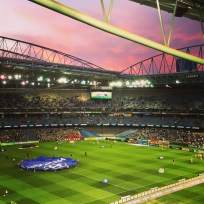 Sunset over the Etihad at half time