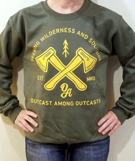 seeking wilderness and solitude, GREEN SOLITUDE CREWNECK