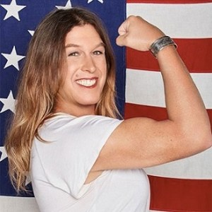 Kristin Beck in front of an american flag