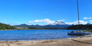 Elk Lake image with Mt Bachelor and a boat