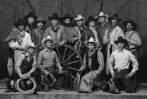 Out West with Buffalo Bill image of a group of cowboys