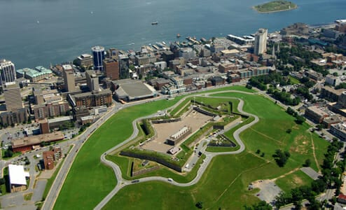 Aerial view of Halifax Citadel National Historic Site of Canada. (photo courtesy of Parks Canada)