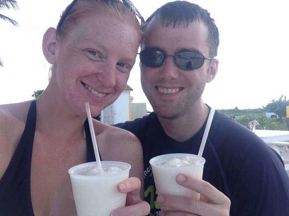 Amy and David drinking pina coladas.