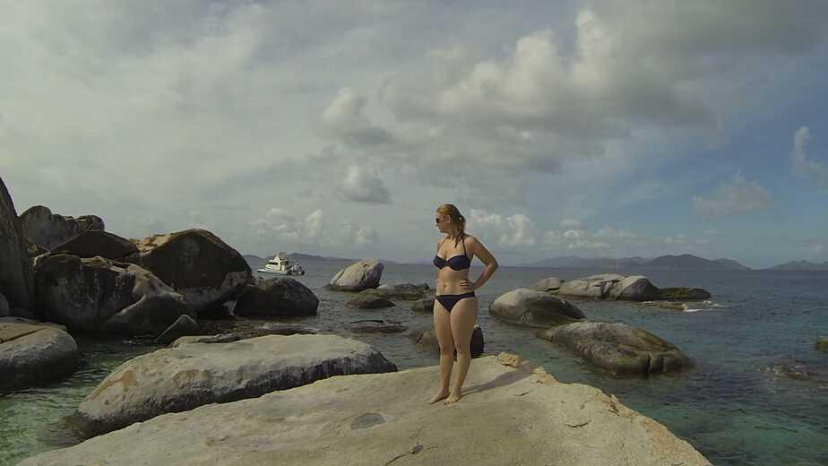 Amy climbing the rocks at the Baths in Virgin Gorda, British Virgin Islands.