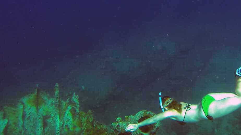Amy freediving the wreck of the Rhone in the British Virgin Islands.