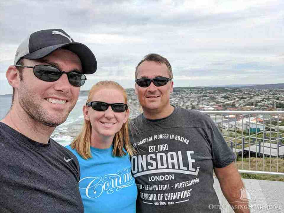 Amy David and David G taking a selfie at the Newcastle Memorial Walk.