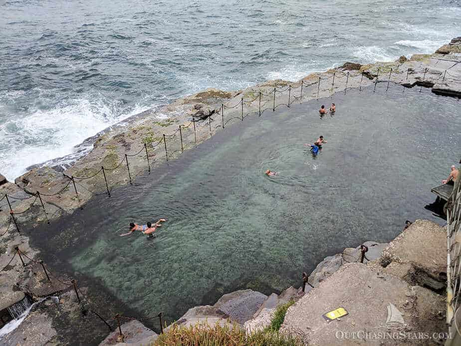 Bogey hole is a small rectangular ocean bath carved out of the cliffside in Newcastle.