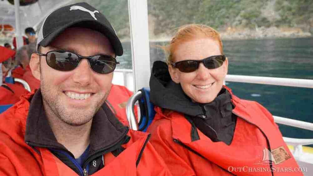 Amy and David on the Tasman Island Cruise, Tasmania.