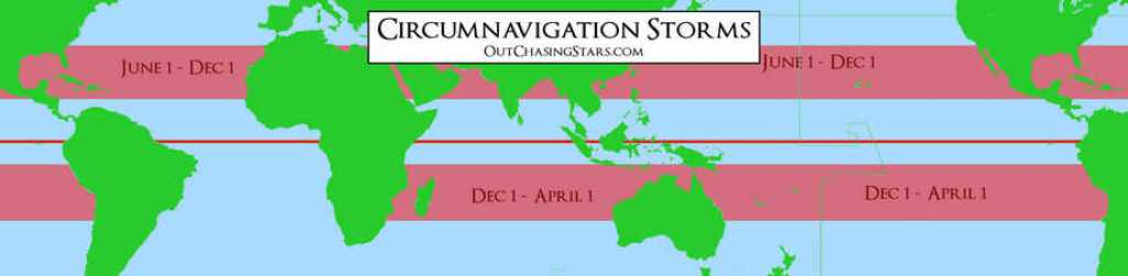 A map showing storm seasons one must consider when planning a world circumnavigation route.
