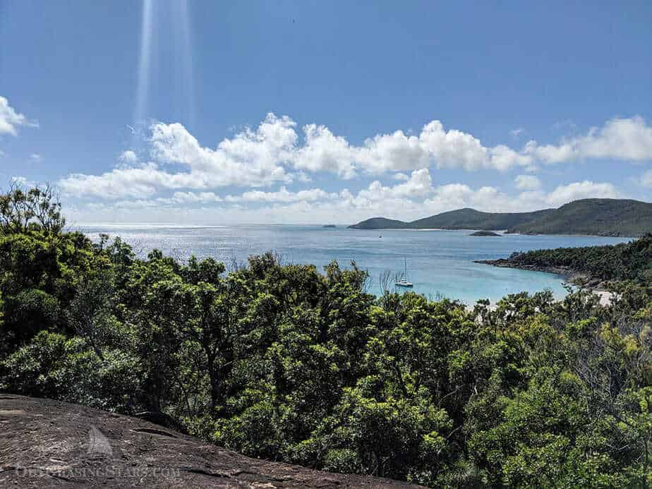 The view from the hike at Whitehaven beach on Whitsunday Island.