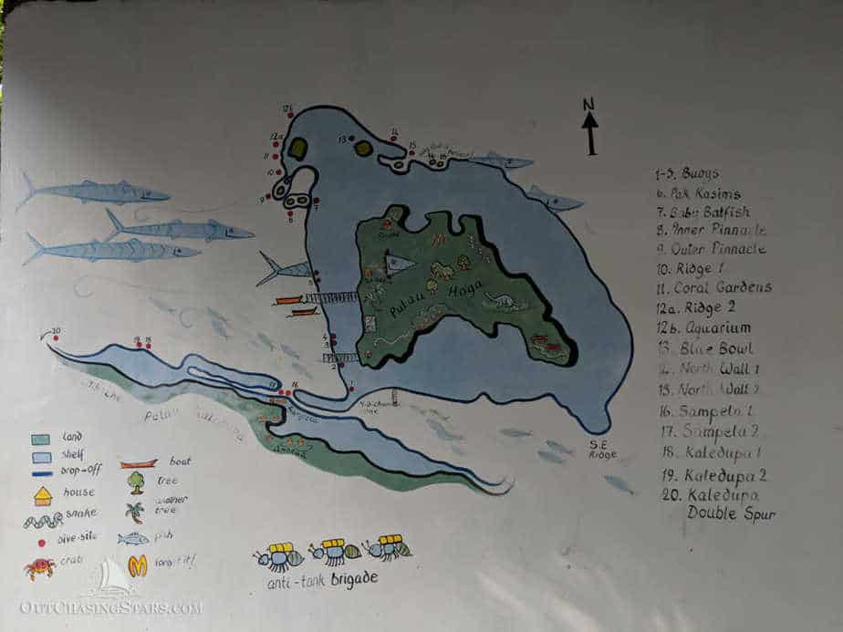 A map of dive sites around Hoga Island in Wakatobi National Park, Indonesia.