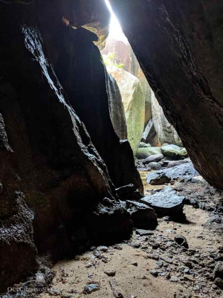 Light coming through the caves made by granite boulders in Belitung Indonesia.