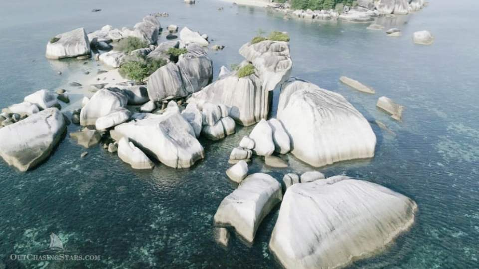 Drone shot of granite boulders in Belitung Indonesia.