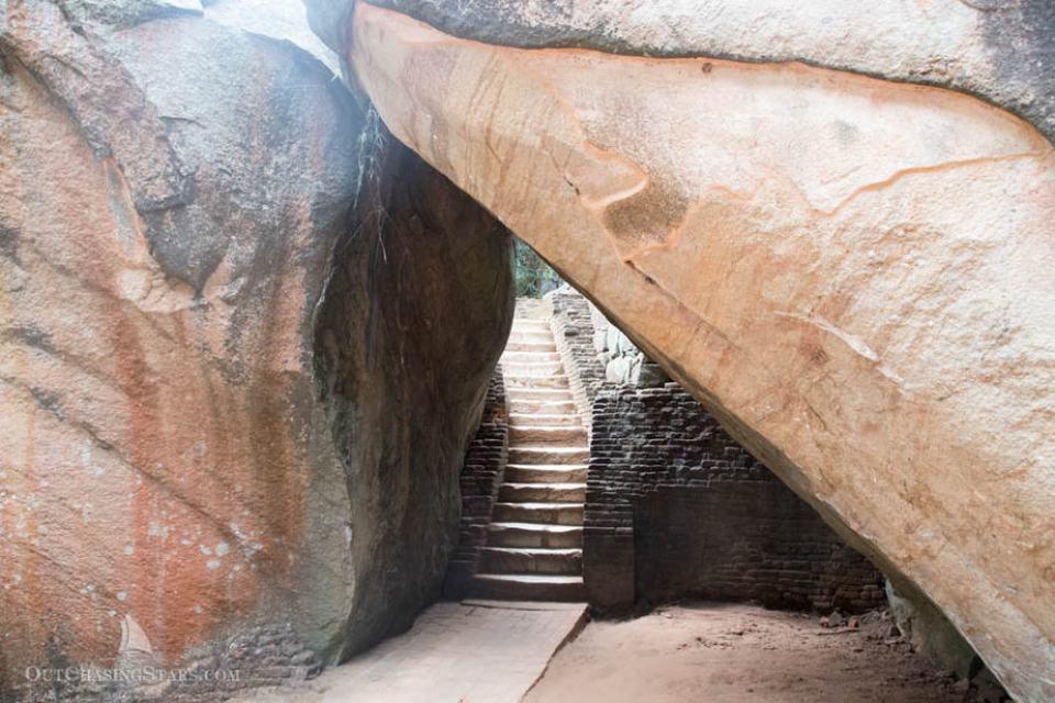 Rock garden cave and stairs at Sigiriya.