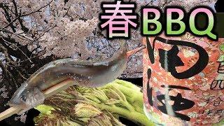 【アウトドア料理】山菜の天ぷらと稚鮎で日本酒バーベキュー【キャンプ飯】