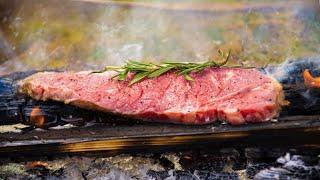 草原で食べる薪焼きステーキ[焚き火料理][ソロキャンプ]
